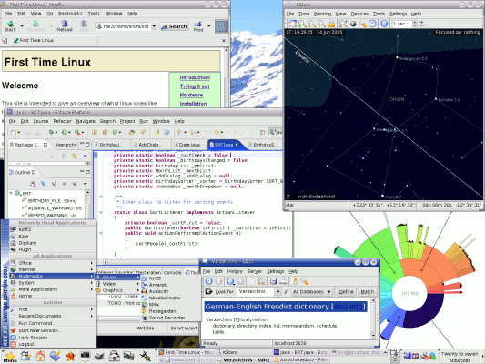 screengrab of Mandriva 2005 with multiple applications