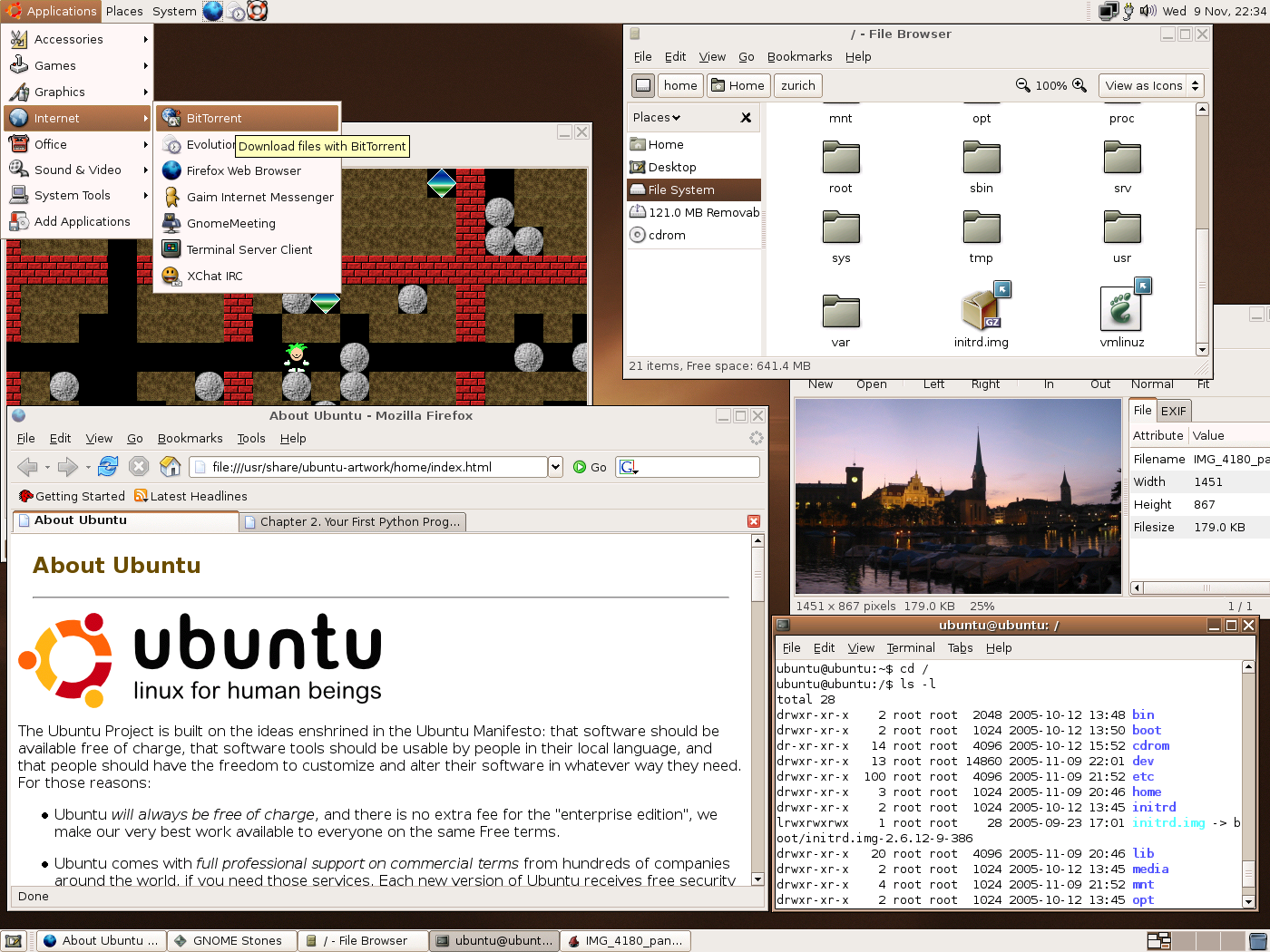 screenshot of Ubuntu live with a selection of applications running