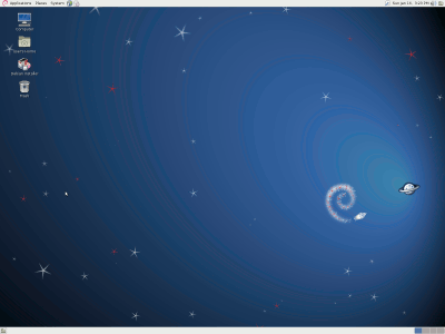 screenshot of Debian squeeze desktop